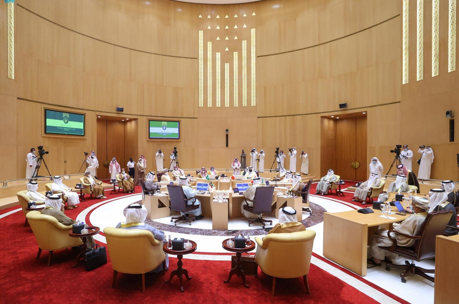 Foreign ministers of the Gulf Cooperation Council (GCC) meet in Riyadh, Saudi Arabia, June 16, 2021. (Reuters Photo)