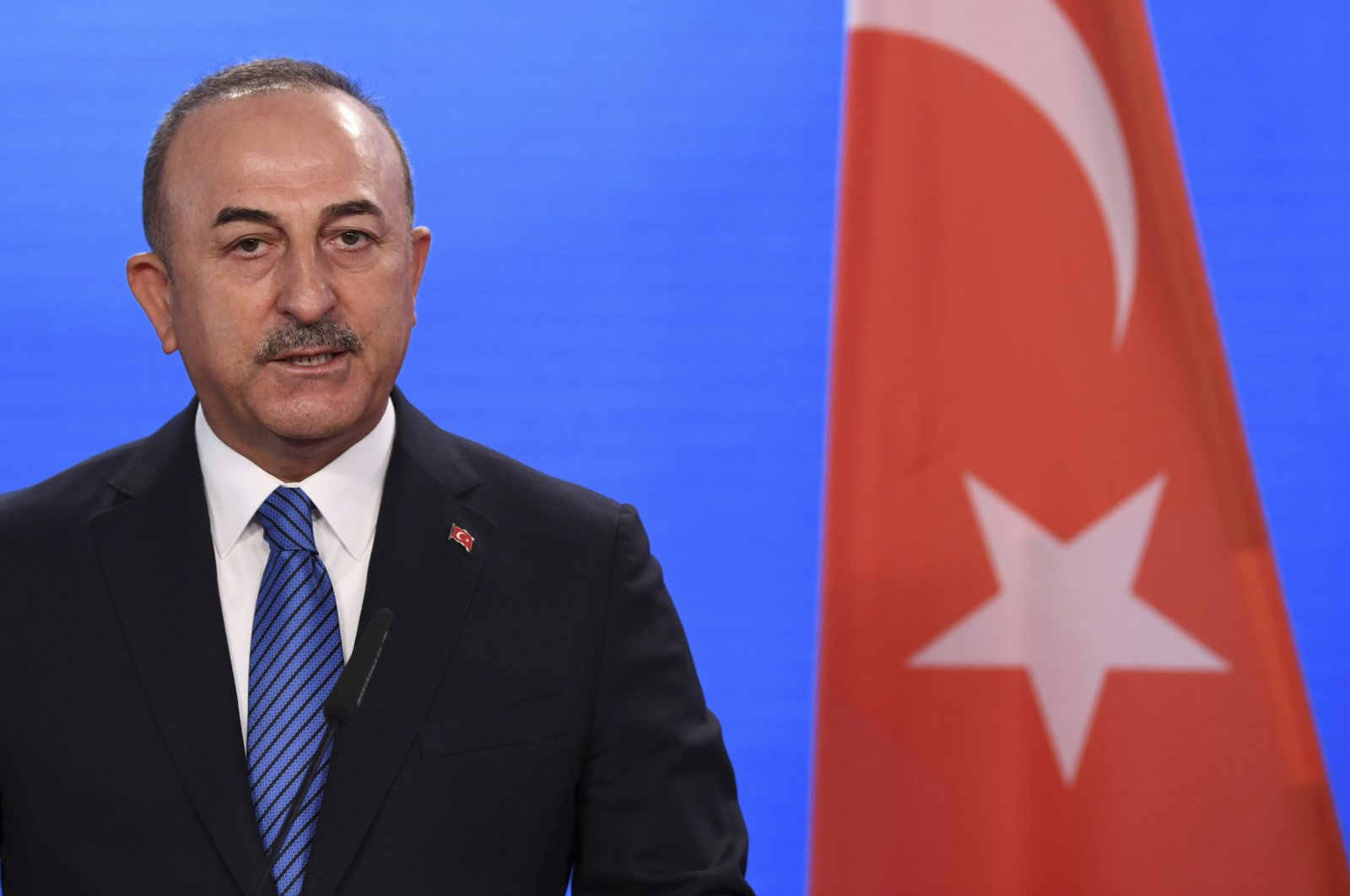 Turkish Foreign Minister Mevlüt Çavuşoğlu gives a statement to the media following a meeting with German Foreign Minister Heiko Maas at the foreign ministry in Berlin, Germany, May 6, 2021. (Annegret Hilse/Pool via AP)