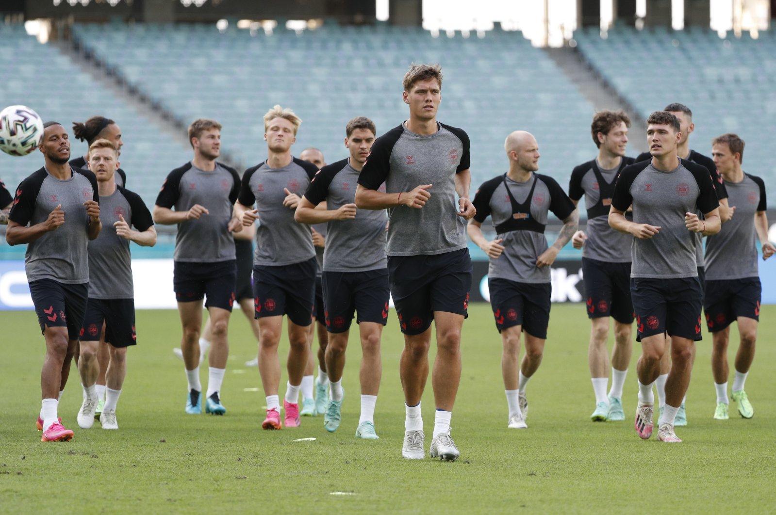 Denmark players attend a training session at Baku Olympic Stadium, Baku, Azerbaijan, July 2, 2021. (Reuters Photo)