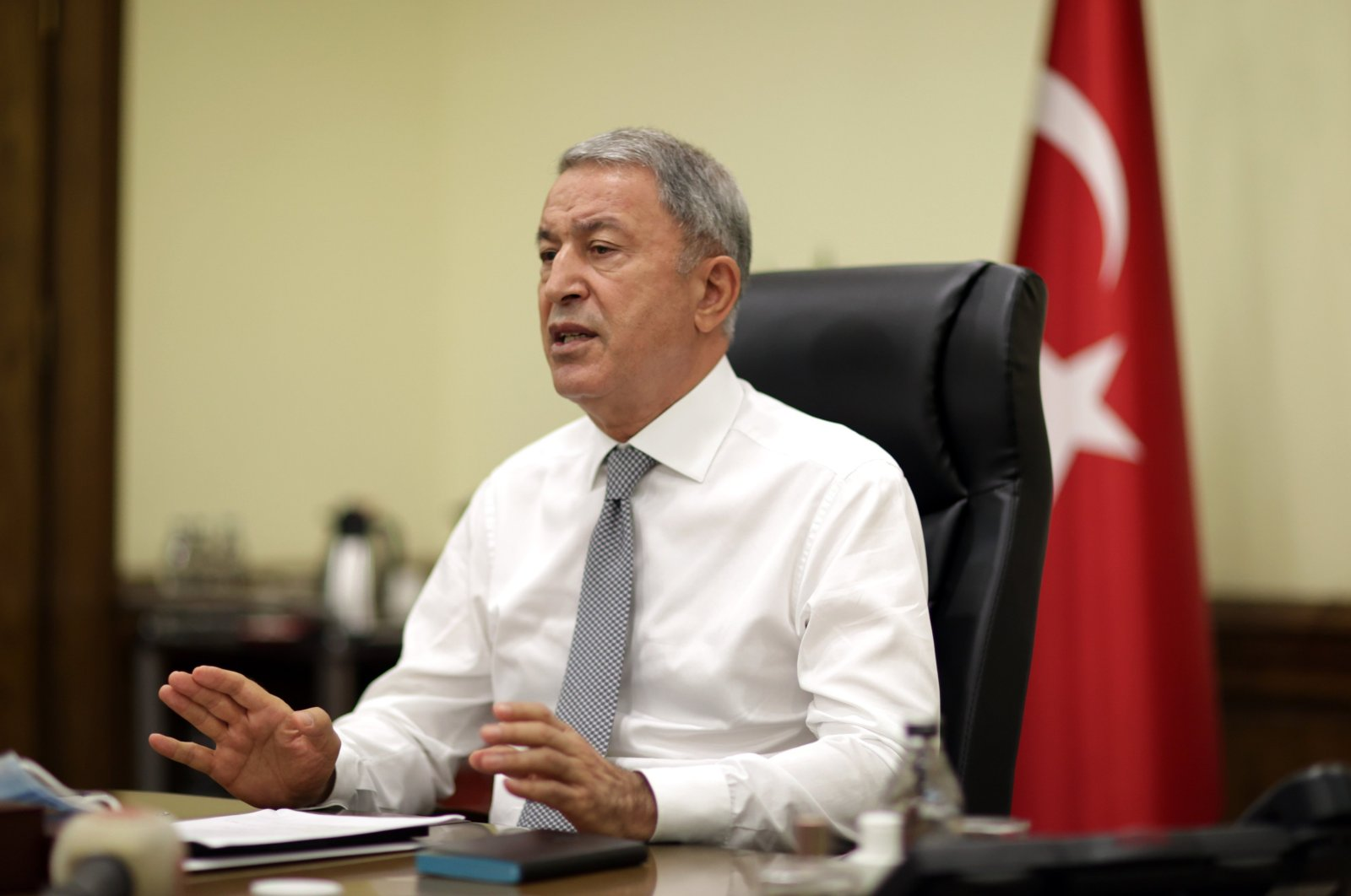 Defense Minister Hulusi Akar is seen during a teleconference in the capital Ankara, Turkey, July 5, 2021. DHA Photo)