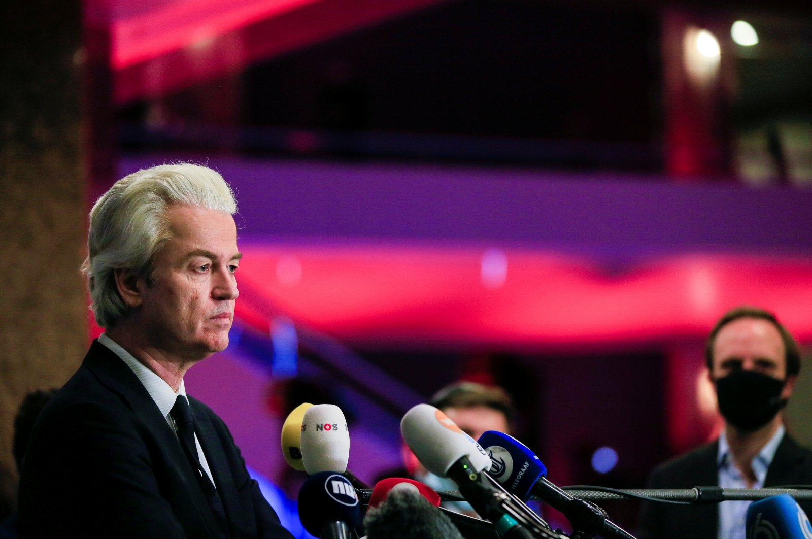 Geert Wilders, leader of the Dutch far-right and largest opposition Freedom Party (PVV), listens to questions from journalists as he reacts to the exit polls in the Netherlands' general election in The Hague, Netherlands, March 17, 2021. (Reuters Photo)