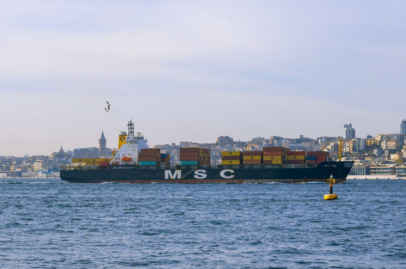 A container ship sails through the Bosporus in Istanbul, Turkey, Dec. 25, 2020. (Shutterstock Photo)