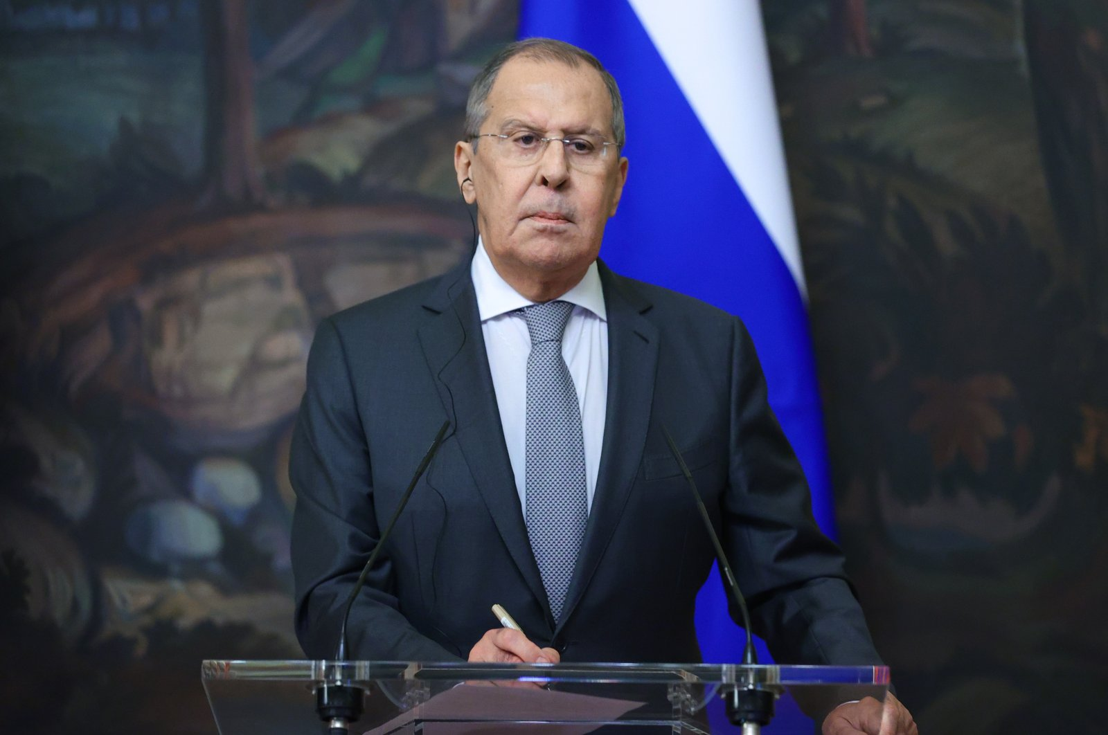 Russian Foreign Minister Sergei Lavrov attends a press conference in Moscow, Russia, June 24, 2021. (AA Photo)