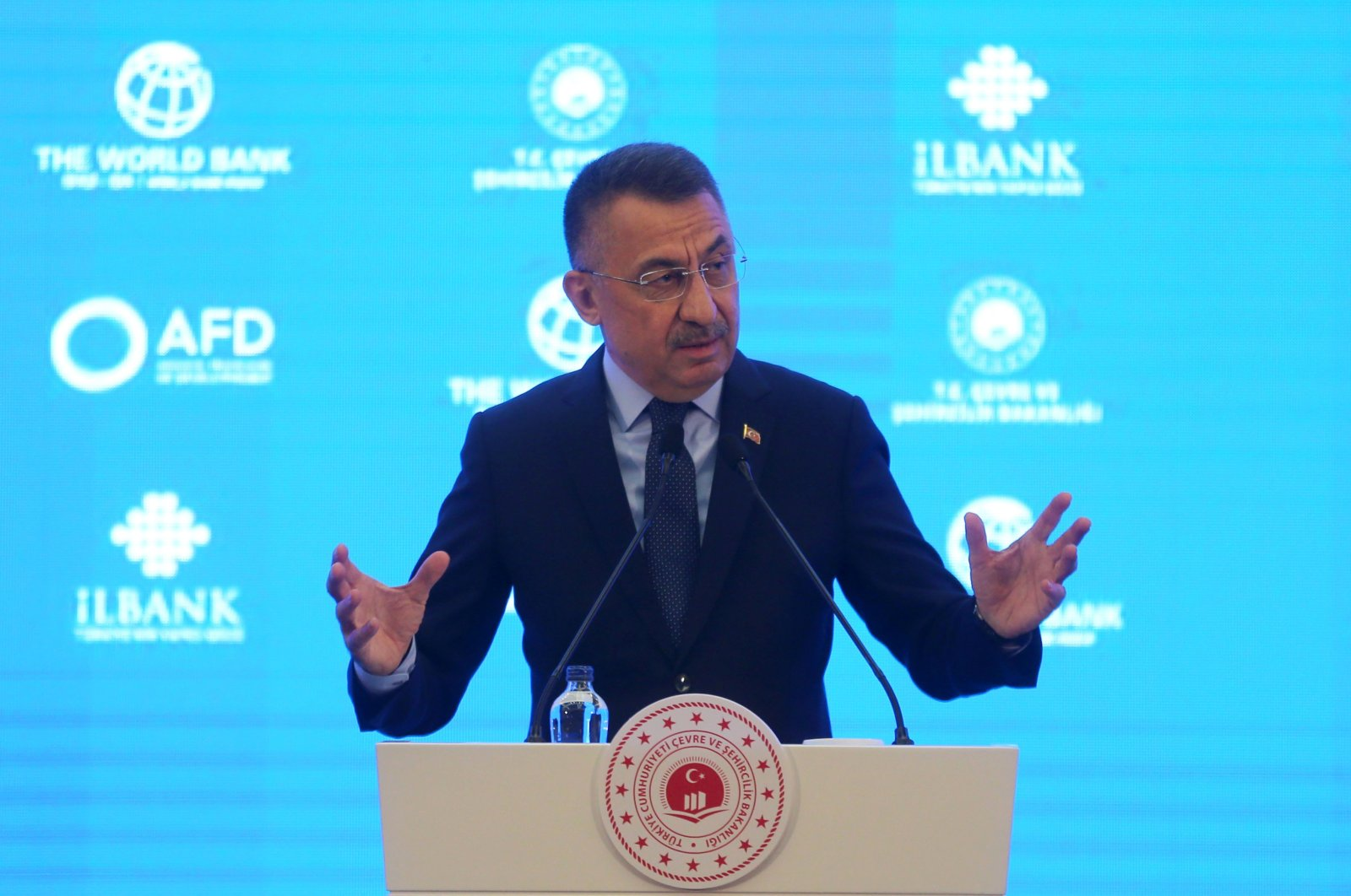 Vice President Fuat Oktay attends a financial agreement signing ceremony within the scope of the EU's financial assistance program for refugees in Turkey, held at the ATO Congressium in the capital, Ankara, Turkey, July 6, 2021. (AA Photo)