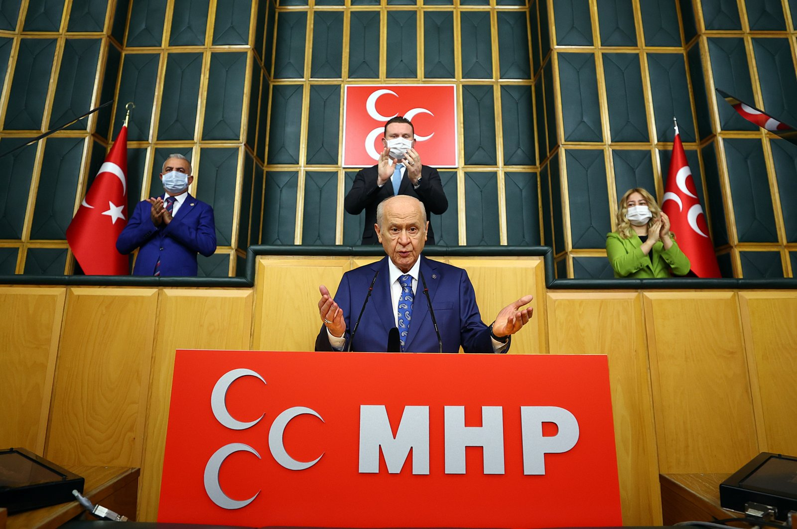 Nationalist Movement Party (MHP) Chairperson Devlet Bahçeli gestures as he speaks at his party's parliamentary group meeting at the Turkish Parliament in Ankara, Turkey, July 6, 2021. (AA Photo)