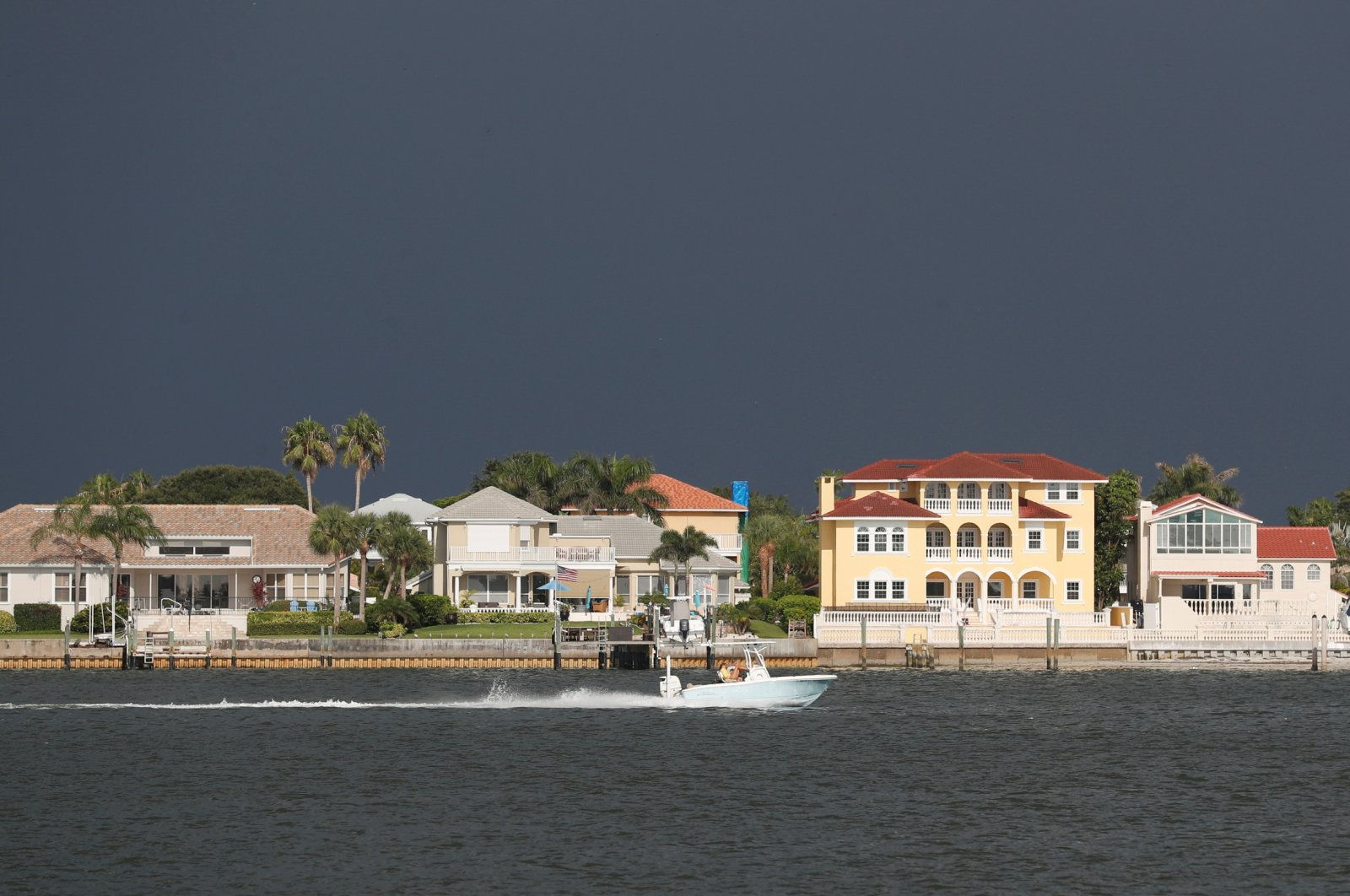 Dark clouds loom over the Pass-A-Grille channel ahead of Tropical Storm Elsa in St. Petersburg, Florida, U.S., July 5, 2021. (Reuters Photo)