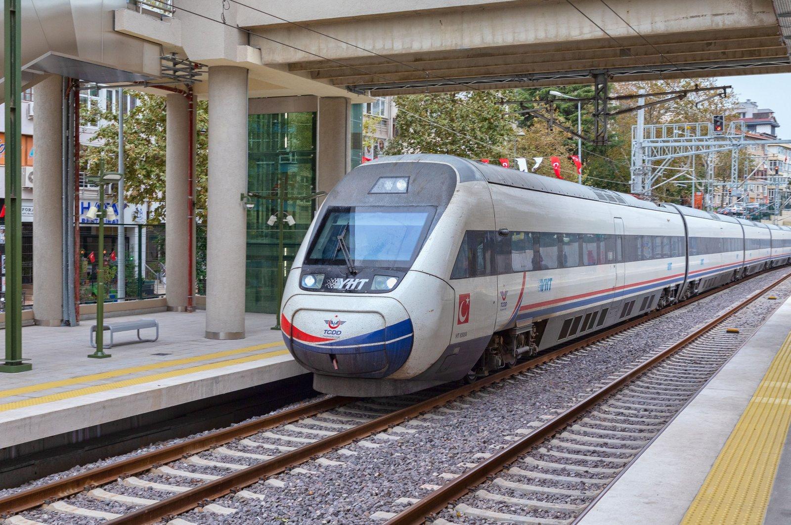 A high-speed train passes through the Bostancı neighborhood, Istanbul, Turkey, Oct. 31, 2019. (Shutterstock Photo)