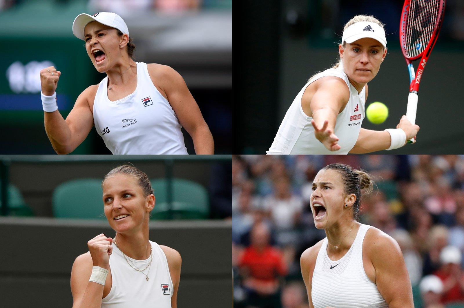 This combination photo shows the four semifinalists of the Wimbledon Tennis Championships – Ash Barty (top left), Angelique Kerber (top right), Karolina Pliskova (bottom left) and Aryna Sabalenka. (Reuters Photos)