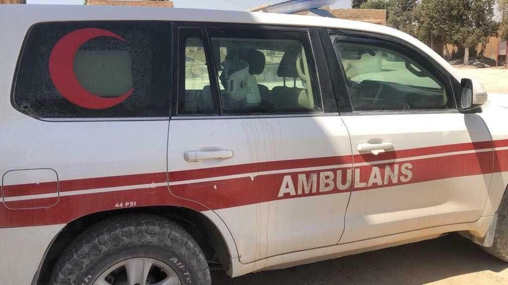 The ambulance attacked by YPG/PKK terrorists in northern Syria, July 7, 2021. (Handout)