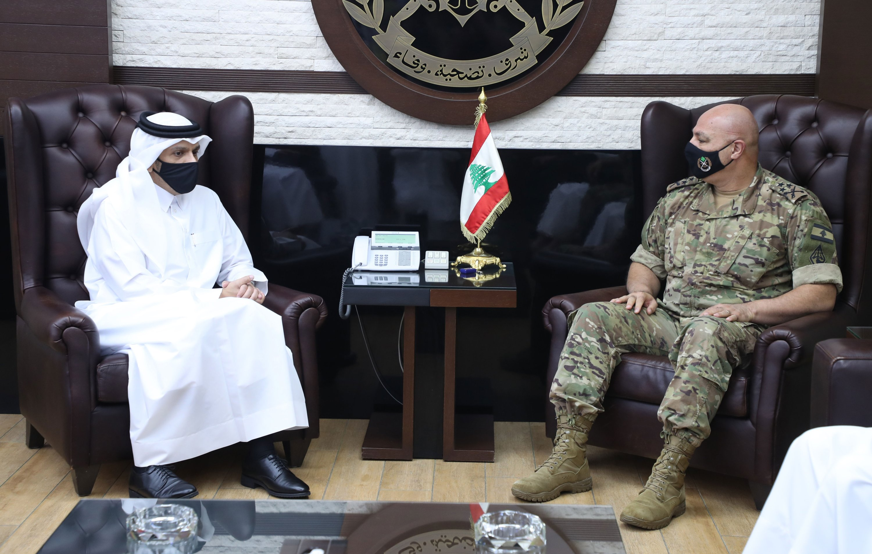 Lebanese Army Commander Gen. Joseph Aoun (R) meets with Qatar's Foreign Minister Mohammad bin Abdulrahman Al Thani, in Beirut, Lebanon, July 6, 2021. (AP Photo)