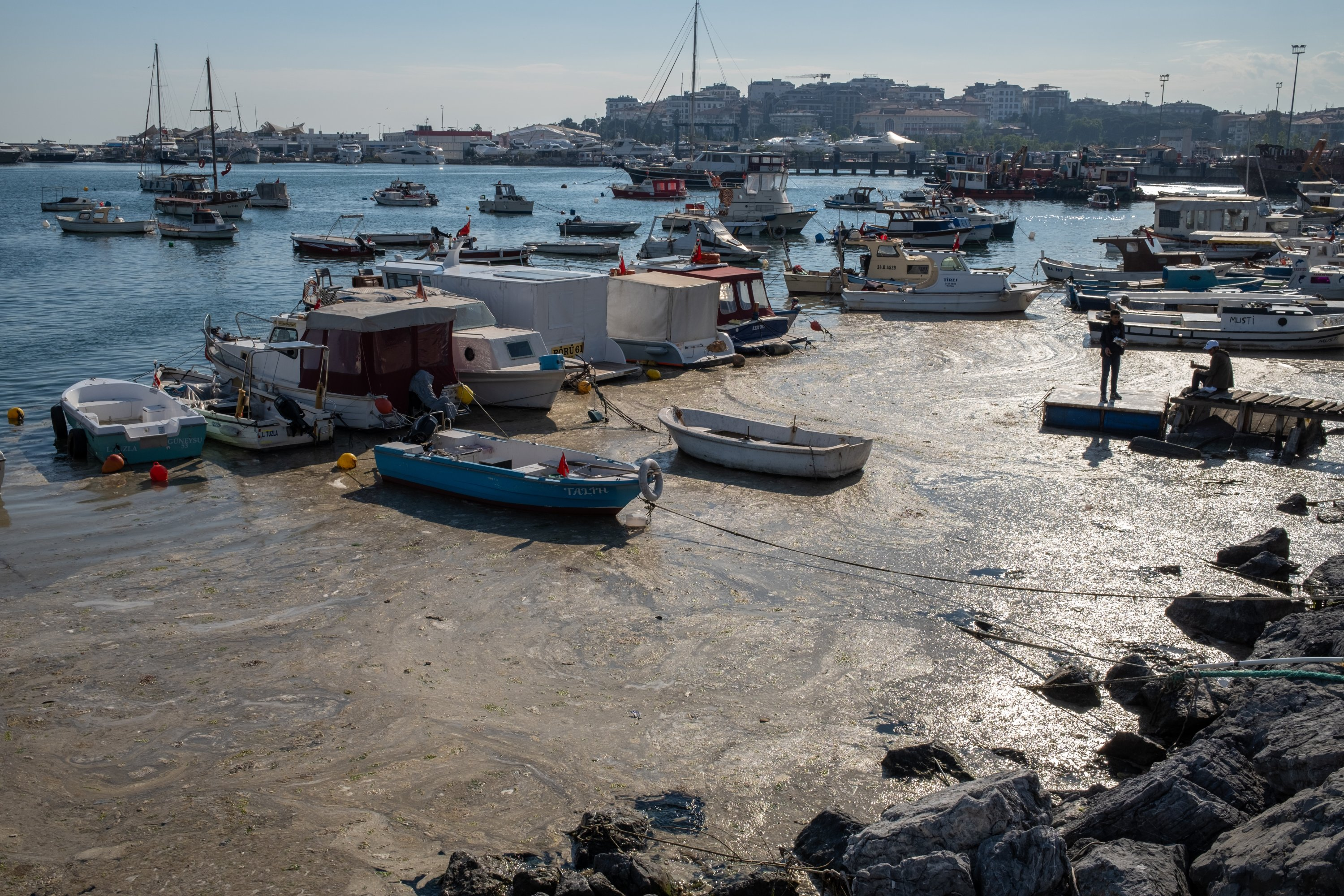 The surface of the Marmara Sea covered with sea snot (or mucilage) seen in Istanbul, Turkey on June 4, 2021. (Getty Images)