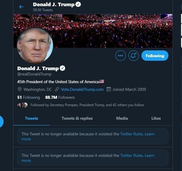 An undated screenshot of the official Twitter account of former U.S. President Donald Trump. (IHA Photo)