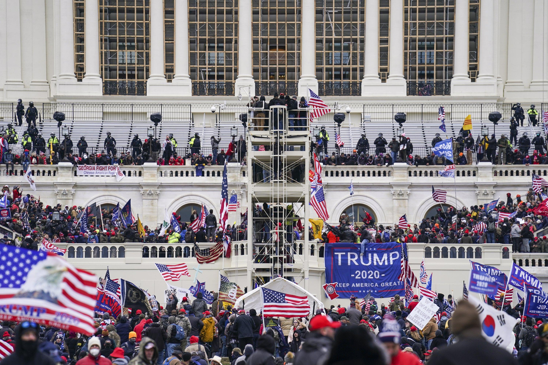 Insurrectionists loyal to U.S. President Donald Trump breach the Capitol in Washington, U.S., Jan. 6, 2021. (AP Photo)
