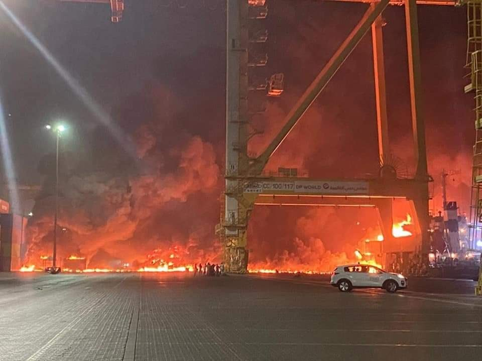 Image of the fire just after the explosion at the port in Dubai, shared on social media. (Twitter metesohtaoglu)