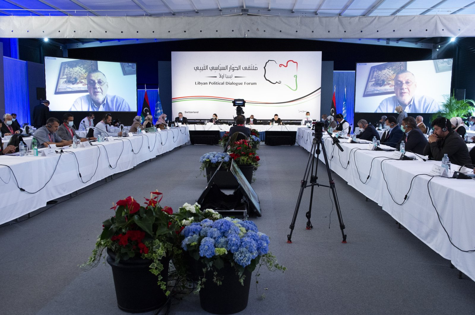 A session of the Libyan Political Dialogue Forum in Geneva, Switzerland, July 2, 2021. (AA Photo)