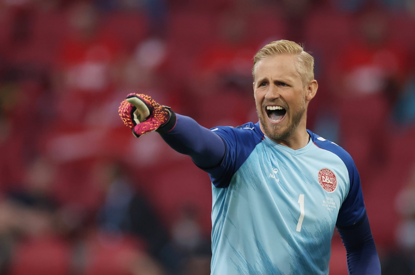 Denmark goalkeeper Kasper Schmeichel reacts during their Euro 2020 Round of 16 match against Wales at Johan Cruijff Arena, Amsterdam, the Netherlands, June 26, 2021. (Reuters Photo)