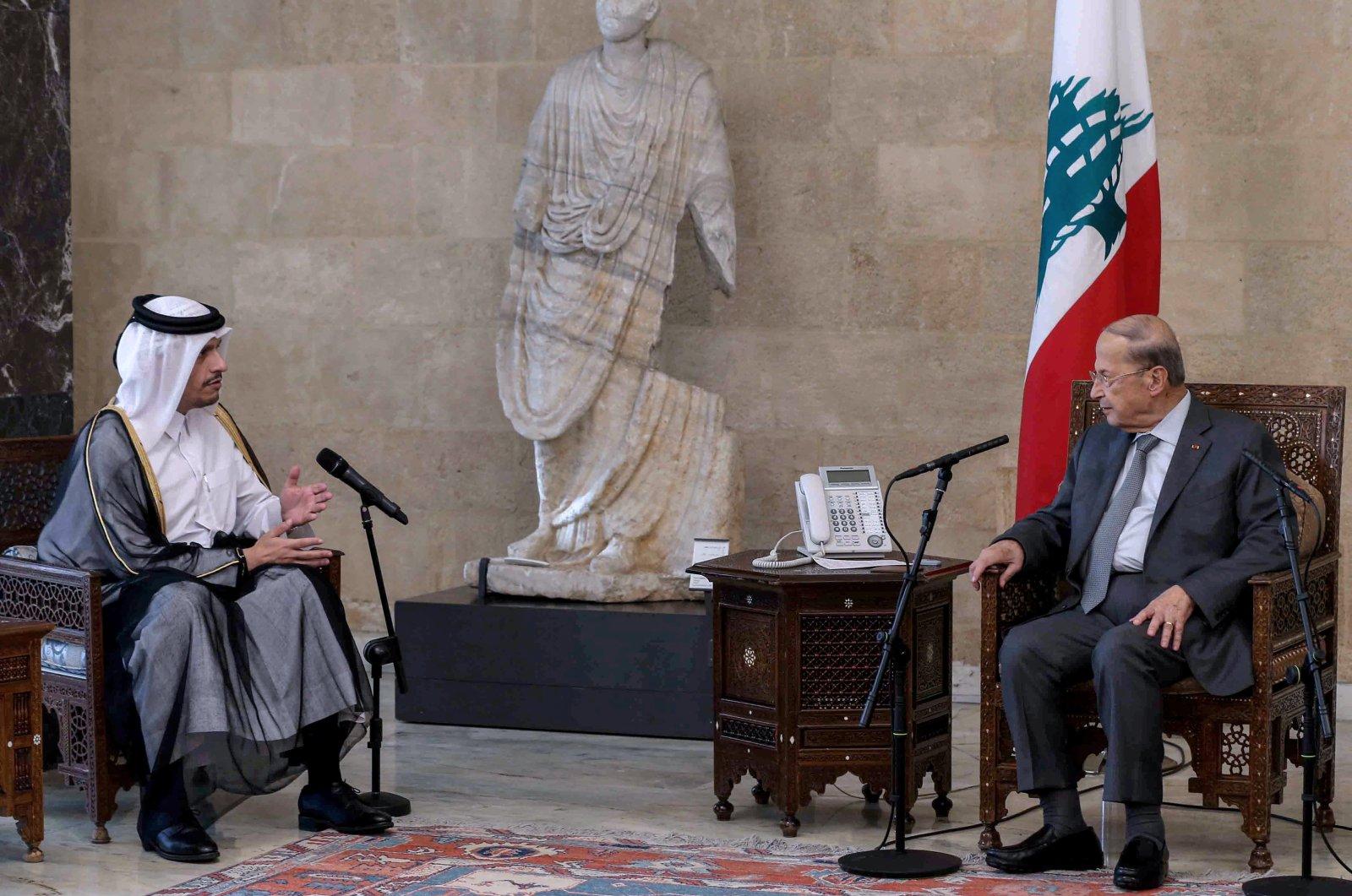 Lebanese President Michel Aoun (R) meets with Qatar's Foreign Minister Mohammad bin Abdulrahman Al Thani, in Beirut, Lebanon, July 6, 2021. (EPA Photo)