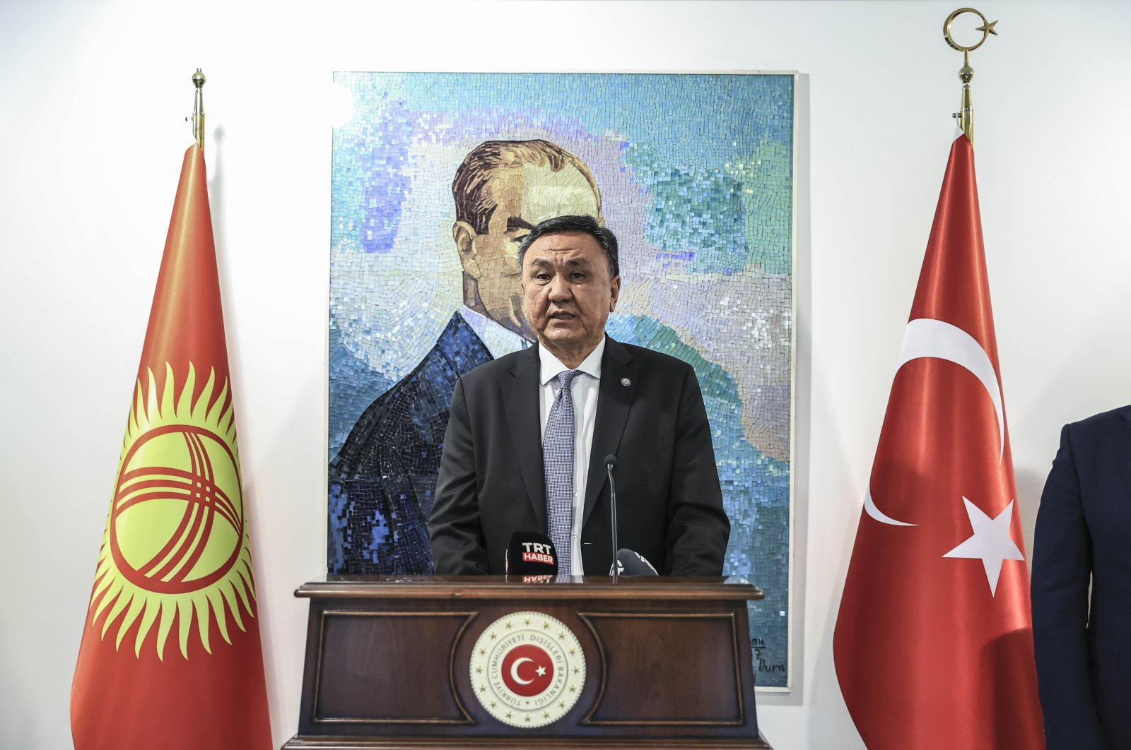 Kyrgyz Ambassador Kubanychbek Omuraliev speaks at an exhibition to mark the 30th anniversary of the independence of Kyrgyzstan, in Turkey's capital Ankara, July 6, 2021. (AA Photo)