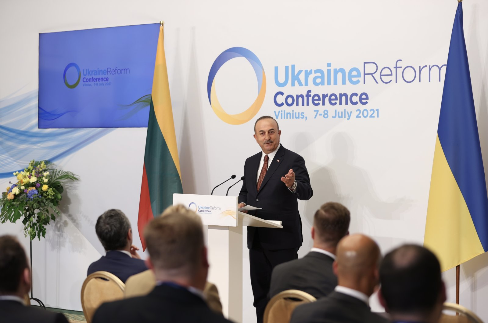 Foreign Minister Mevlüt Çavuşoğlu speaking at the Ukraine Reform Conference in Vilnius, Lithuania, July 7, 2021. (AA Photo)
