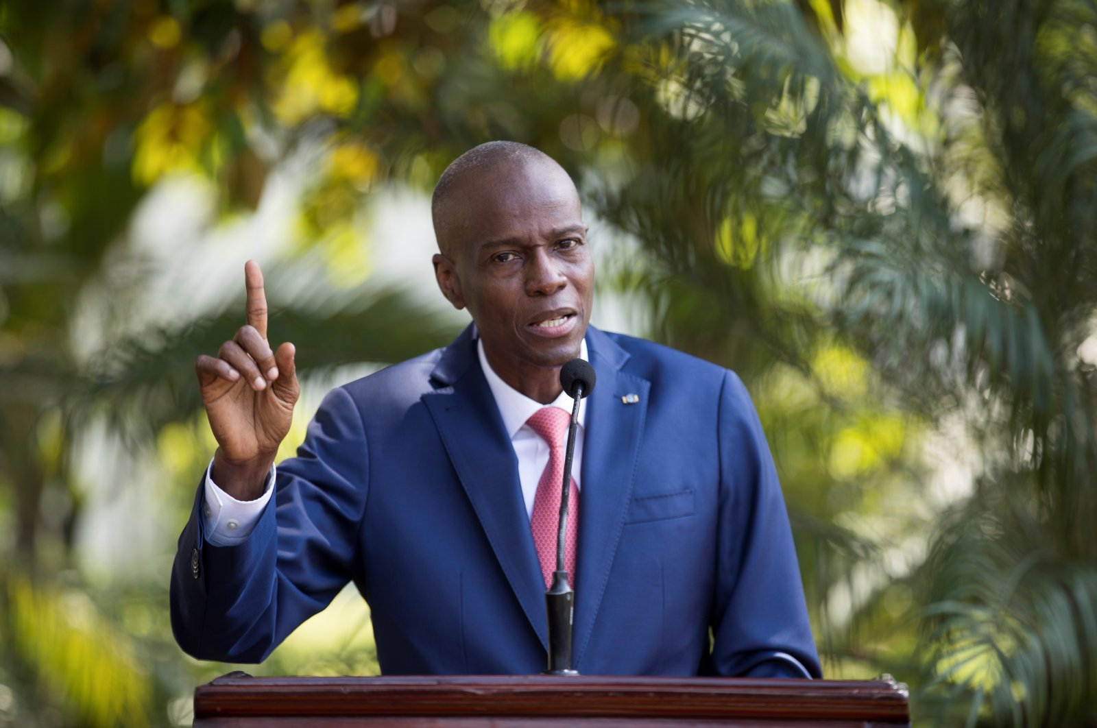 Late Haitian President Jovenel Moise speaks to the press in the gardens of the National Palace, in Port-au-Prince, Haiti, Oct. 15, 2019. (EPA Photo)