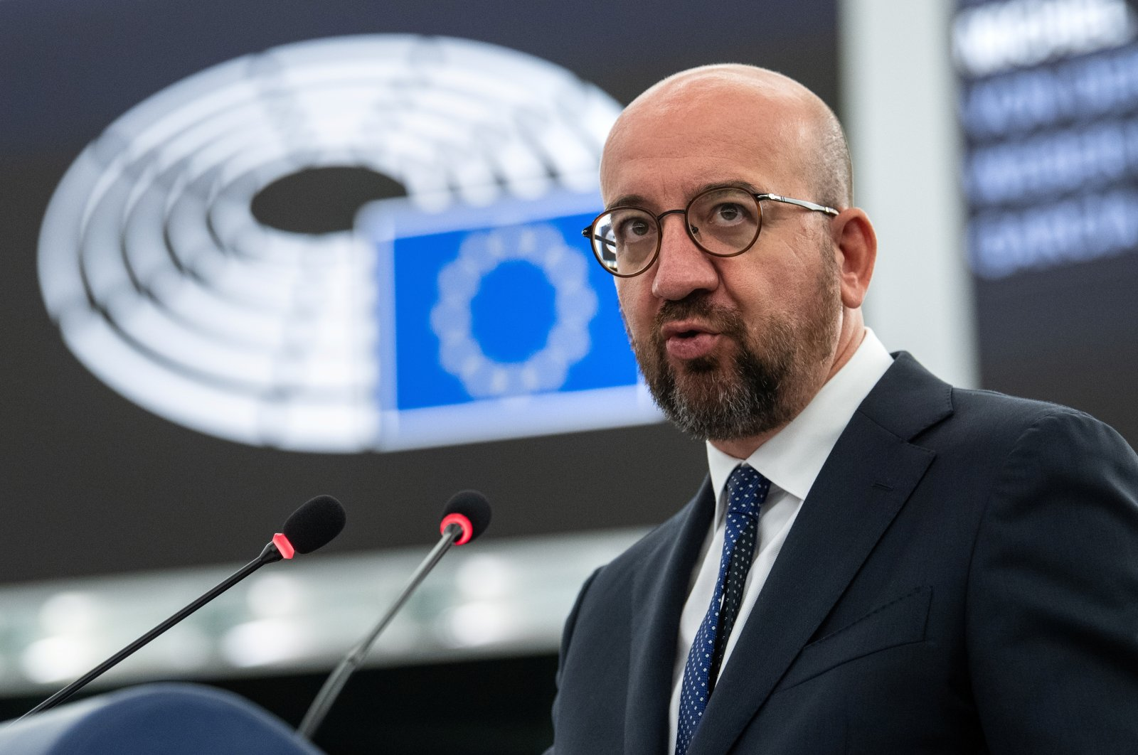 European Council President Charles Michel delivers a speech during a plenary session at the European Parliament in Strasbourg, France, July 7, 2021. (REUTERS Photo)