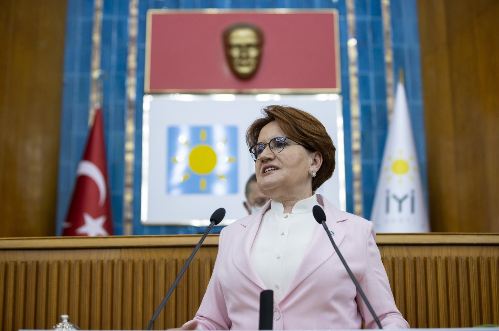 Good Party (IP) Chairperson Meral Akşener speaks to fellow party members at the Turkish Parliament, Ankara, Turkey, July 7, 2021. (AA Photo)