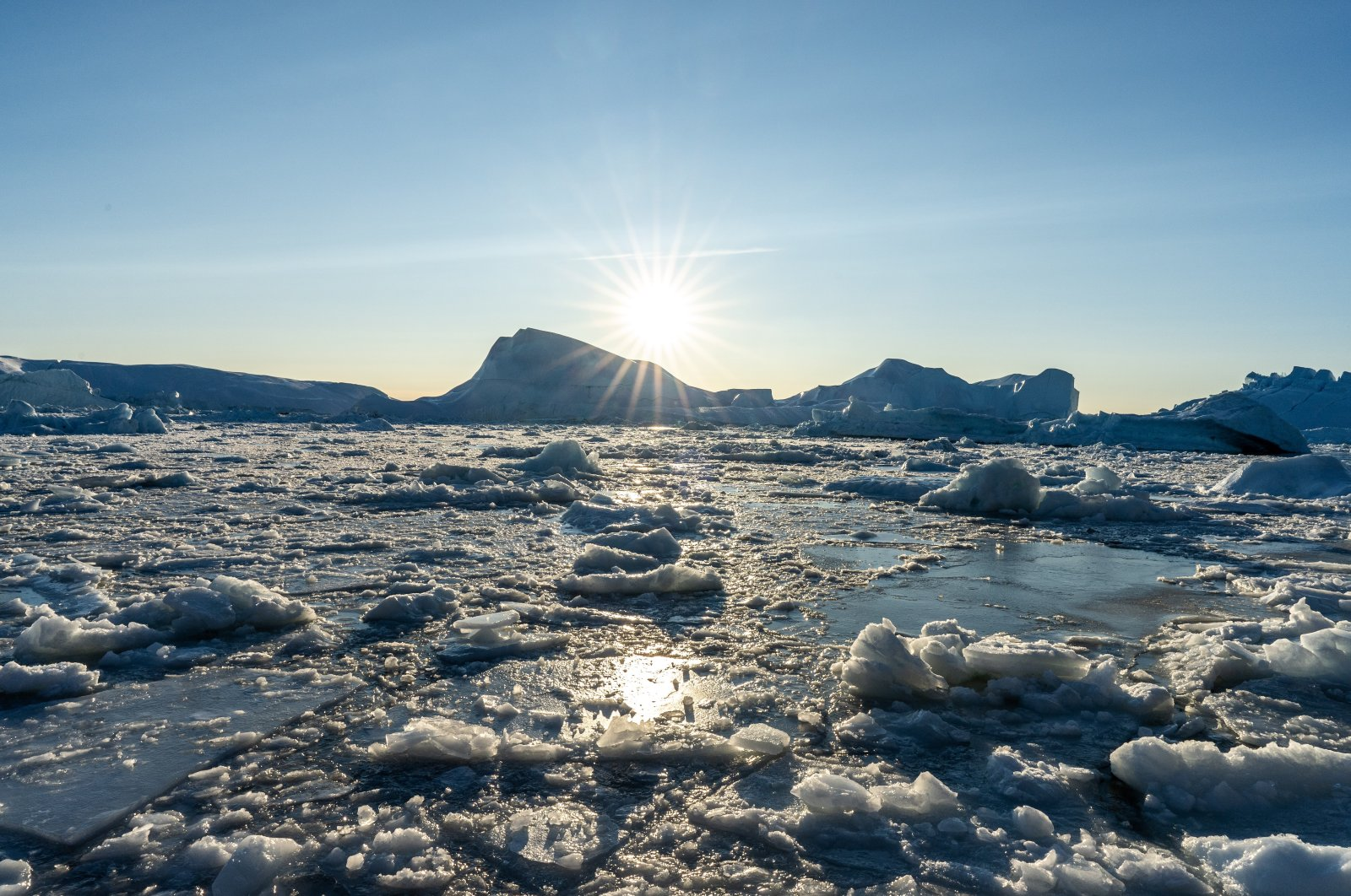 Melted icebergs near Ilulissat, Greenland, Oct. 7, 2020. (Photo by Getty Images)