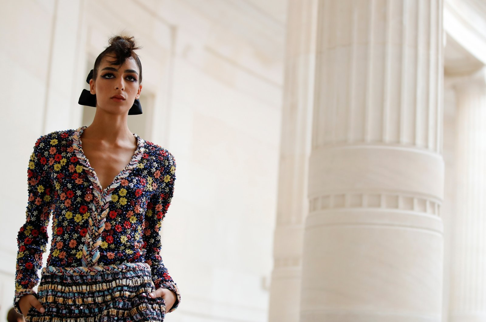 A model presents a creation by designer Virginie Viard as part of her Haute Couture Fall/Winter 2021/2022 collection for fashion house Chanel in Paris, France, July 6, 2021. (Reuters Photo)