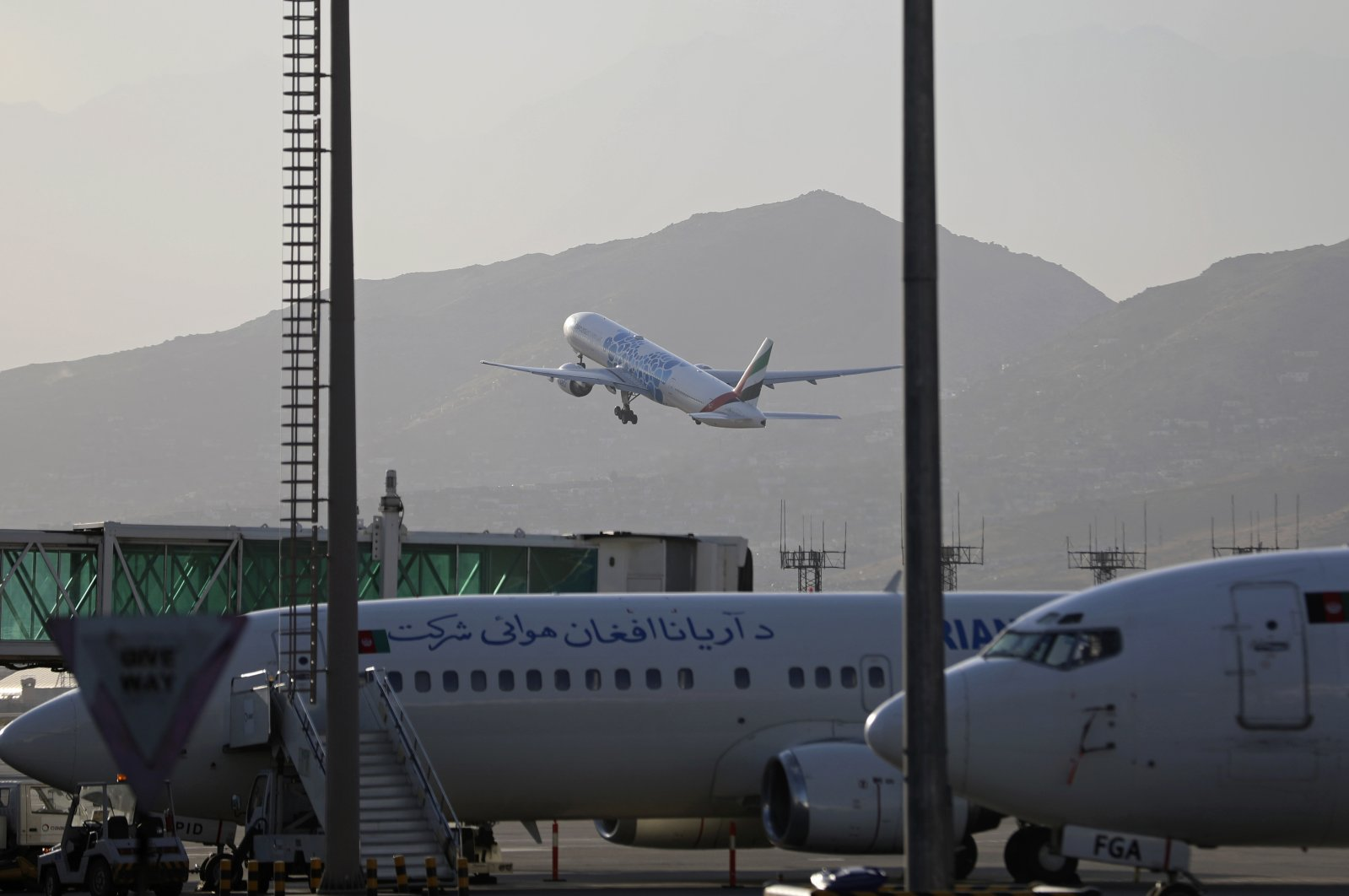 A plane takes off from Hamid Karzai International Airport in Kabul, Afghanistan, Sunday, July 4, 2021.(AP Photo)