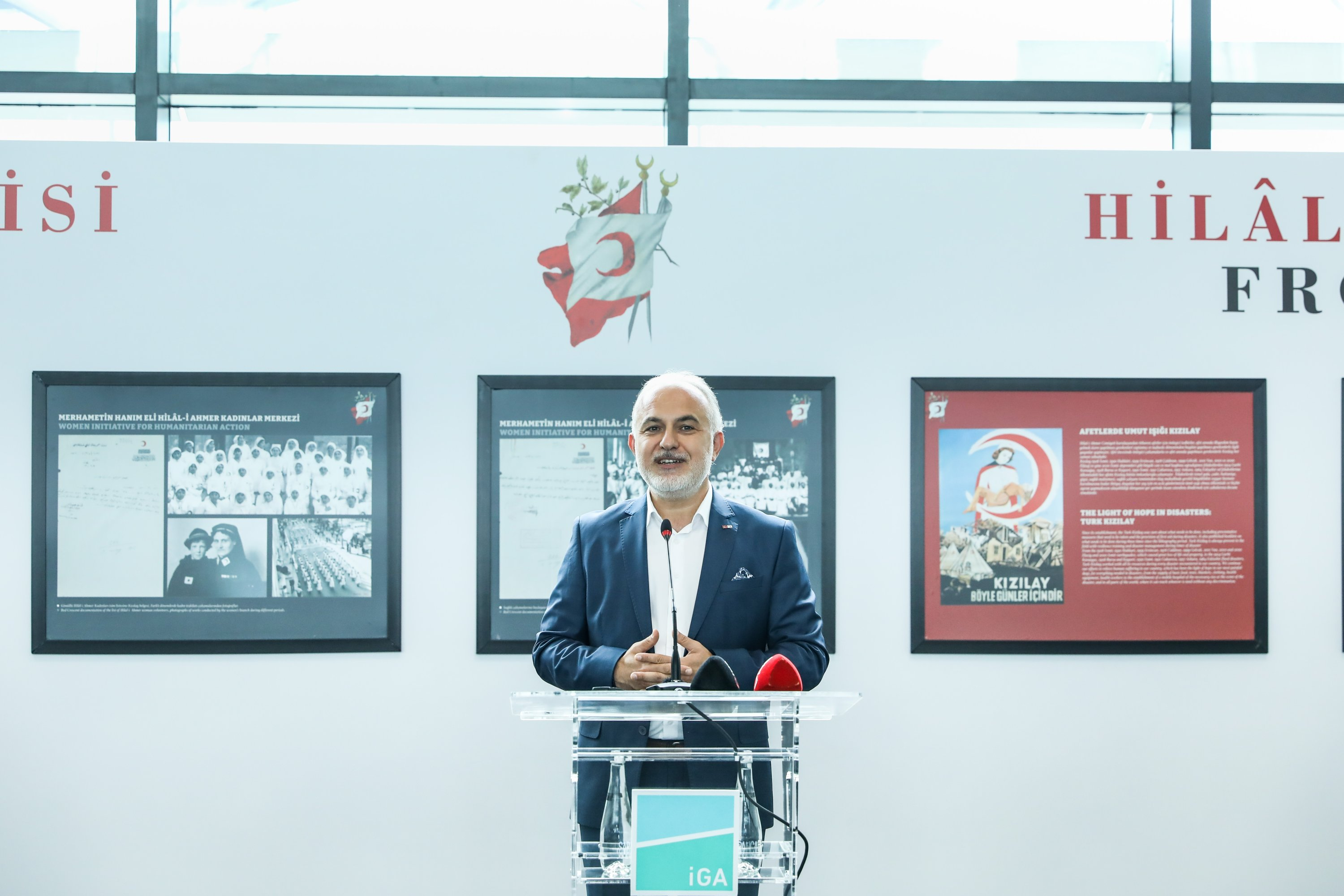 """Turkish Red Crescent President Kerem Kınık talks at the opening ceremony of the """"Movement of Goodness for 153 years,"""" Istanbul airport, Turkey, July 7, 2021."""