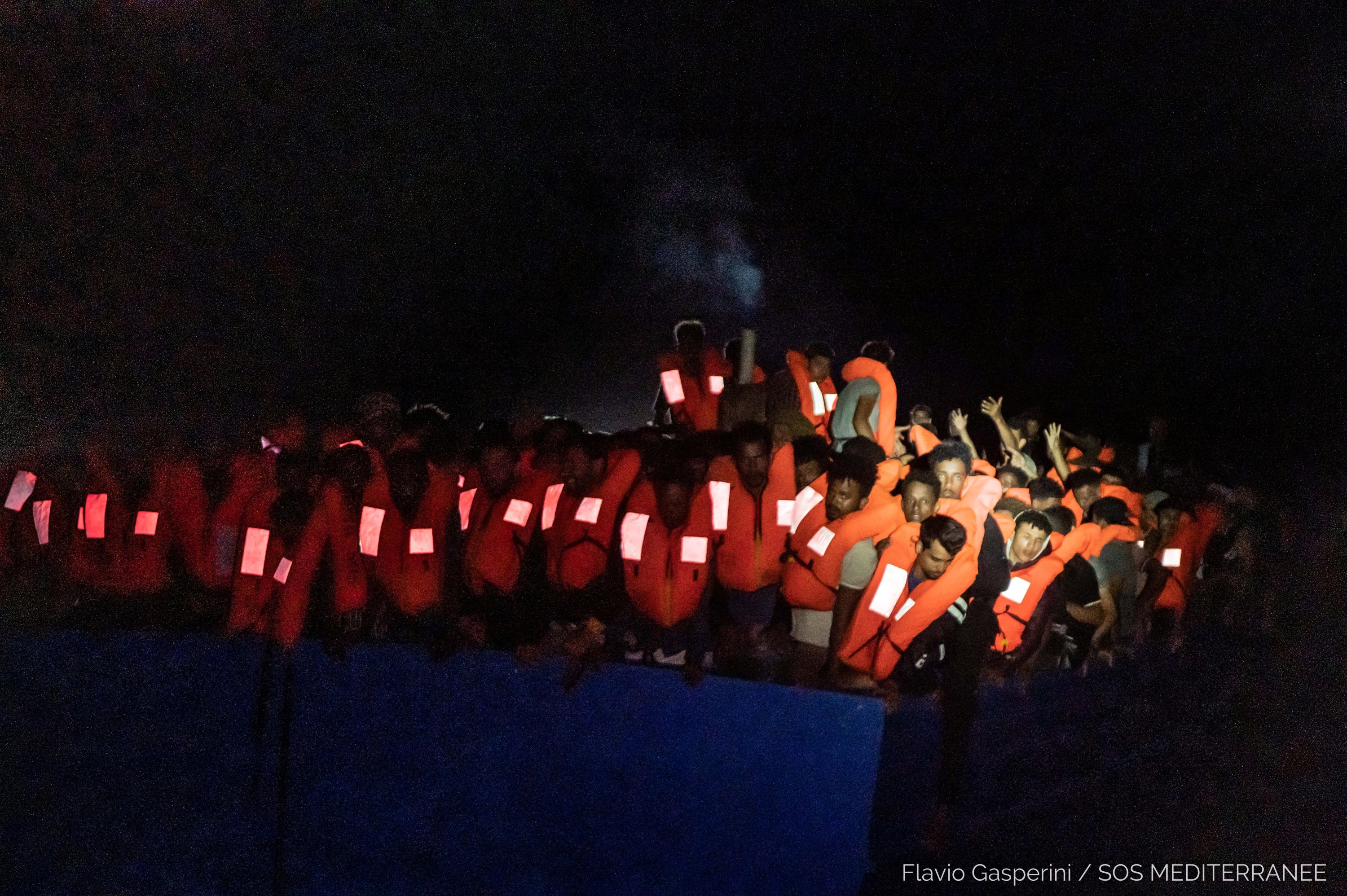 Migrants wait to be rescued by the Ocean Viking during a search and rescue (SAR) operation in the Mediterranean Sea, July 5, 2021. (Flavio Gasperini/SOS Mediterranee/Handout via REUTERS)