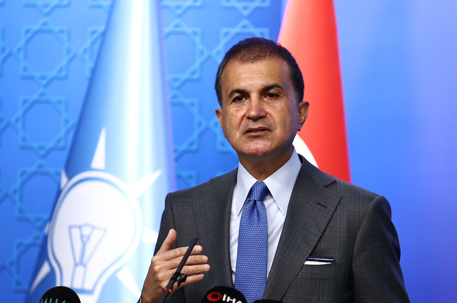 Ömer Çelik, spokesperson for the Justice and Development Party (AK Party), at a press conference in Ankara, Turkey, July 7, 2021. (AA Photo)
