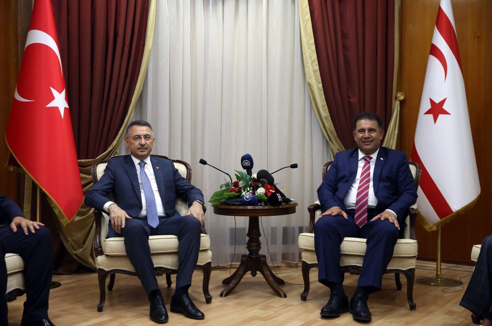 Turkey's Vice President Fuat Oktay and Turkish Cypriot Prime Minister Ersan Saner in capital Lefkoşa (Nicosia), Turkish Cyprus, July 7, 2021. (AA Photo)