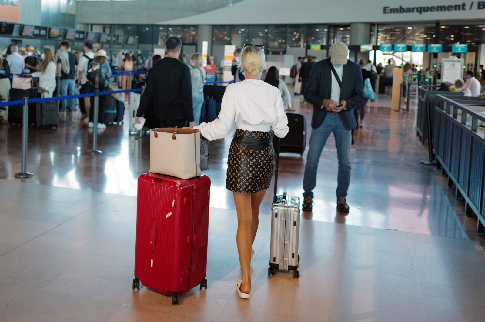 Passengers in Nice airport, France, on July 2, 2021. (AFP Photo)