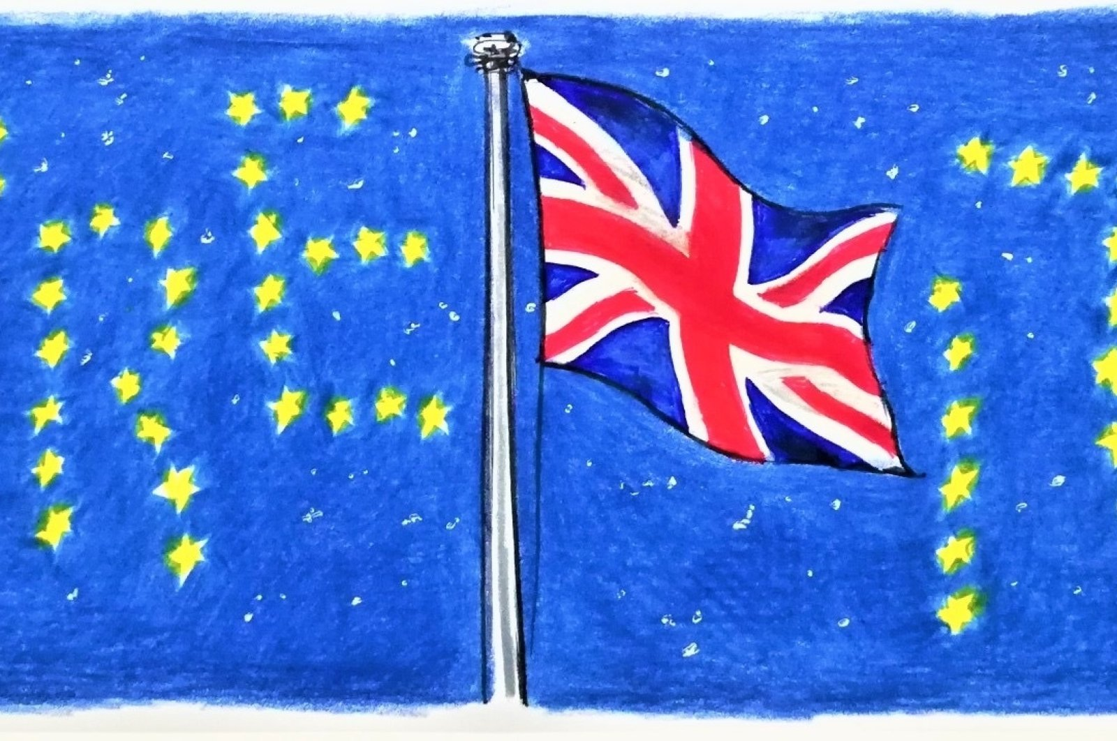 Illustration by Erhan Yalvaç, shows stars and United Kingdom flag forming the word Brexit.