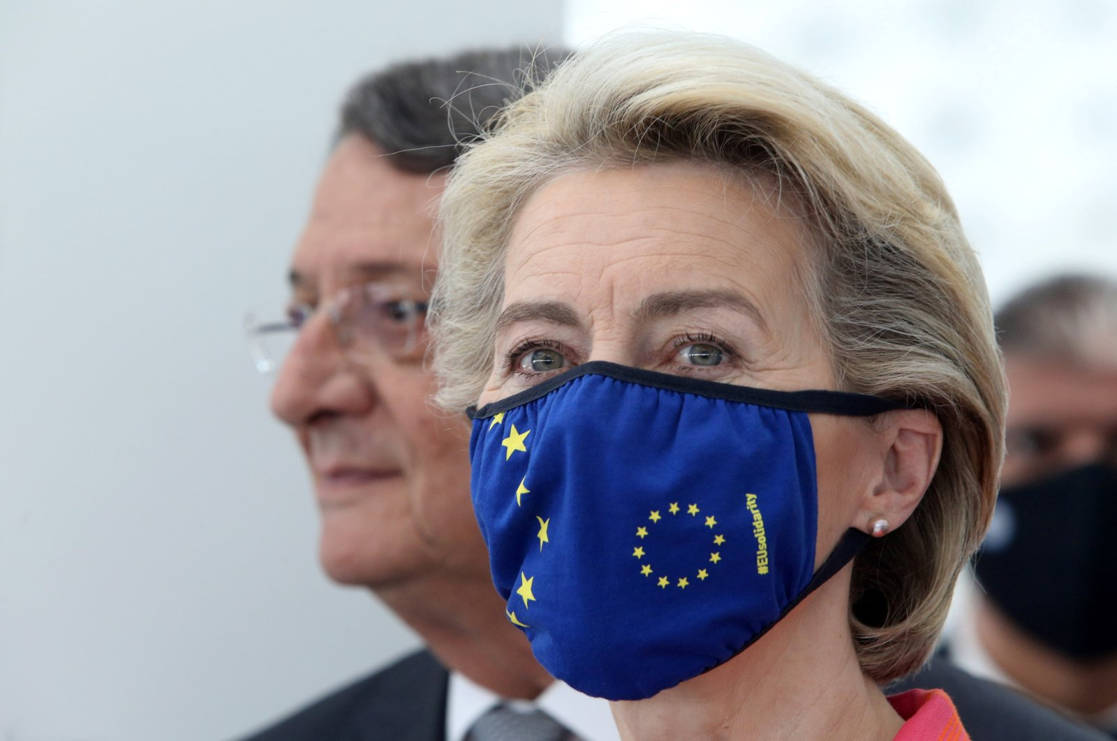 Greek Cypriot leader Nicos Anastasiades and EU Commission President Ursula von der Leyen attend a ceremony in Nicosia, southern Cyprus July 8, 2021. (REUTERS Photo)
