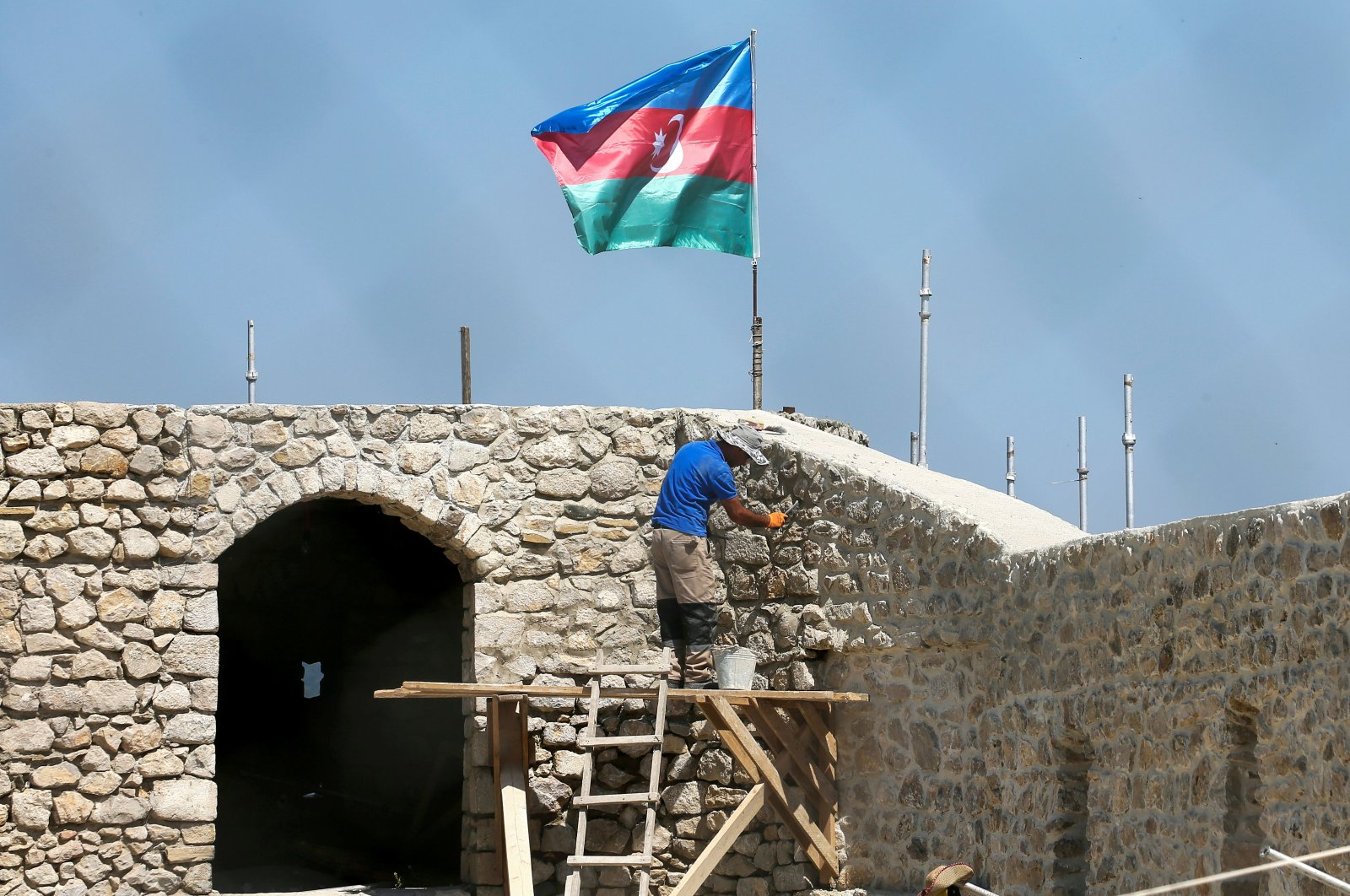 The Shusha Fortress under restoration. Large-scale construction and restoration of infrastructure facilities are underway at the territories of Nagorno-Karabakh that passed over to Azerbaijan after 30 years of Armenian occupation, July 4, 2021. (Photo by Gavriil GrigorovTASS via Getty Images)