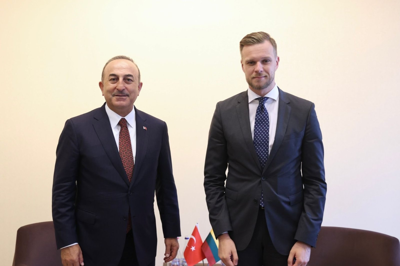 Turkey's Foreign Minister Mevlüt Çavuşoğlu (L) with Lithuanian Counterpart Gabrielius Landsbergis in Helsinki, Finland, July 8, 2021. (AA Photo)