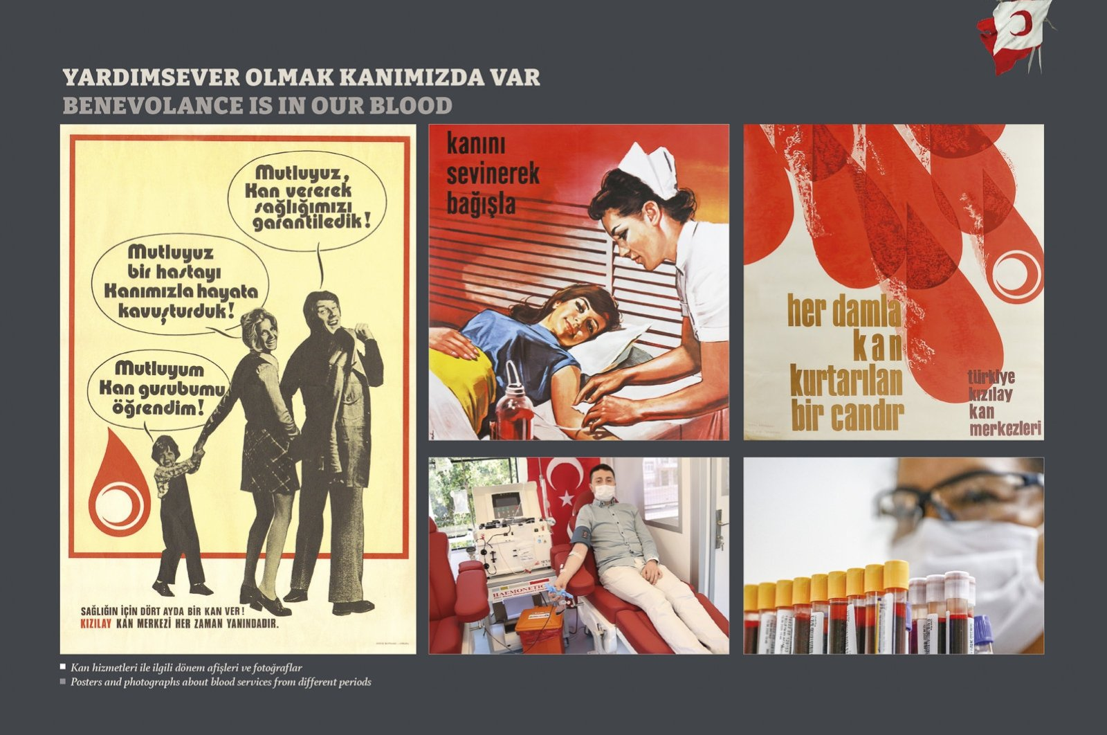 Posters and photos about blood services of the Turkish Red Crescent from different periods. (Archive Photo)