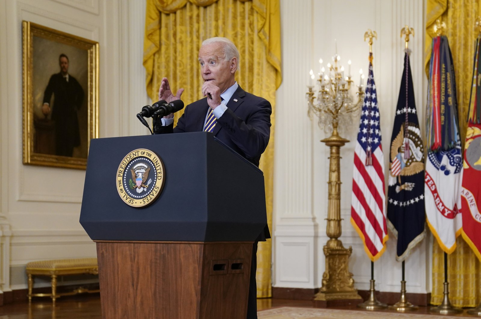 President Joe Biden speaks about the American troop withdrawal from Afghanistan, in the East Room of the White House, Washington, U.S., July 8, 2021. (AP Photo)