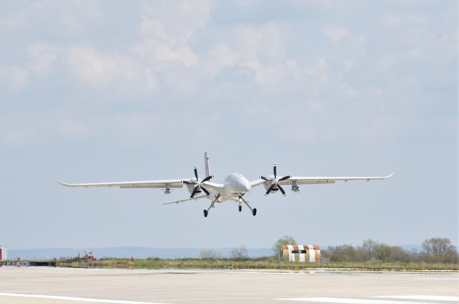 An Akıncı UCAV lands on a runway in northwestern Tekirdağ province, Turkey, April. 22, 2021. (IHA Photo)