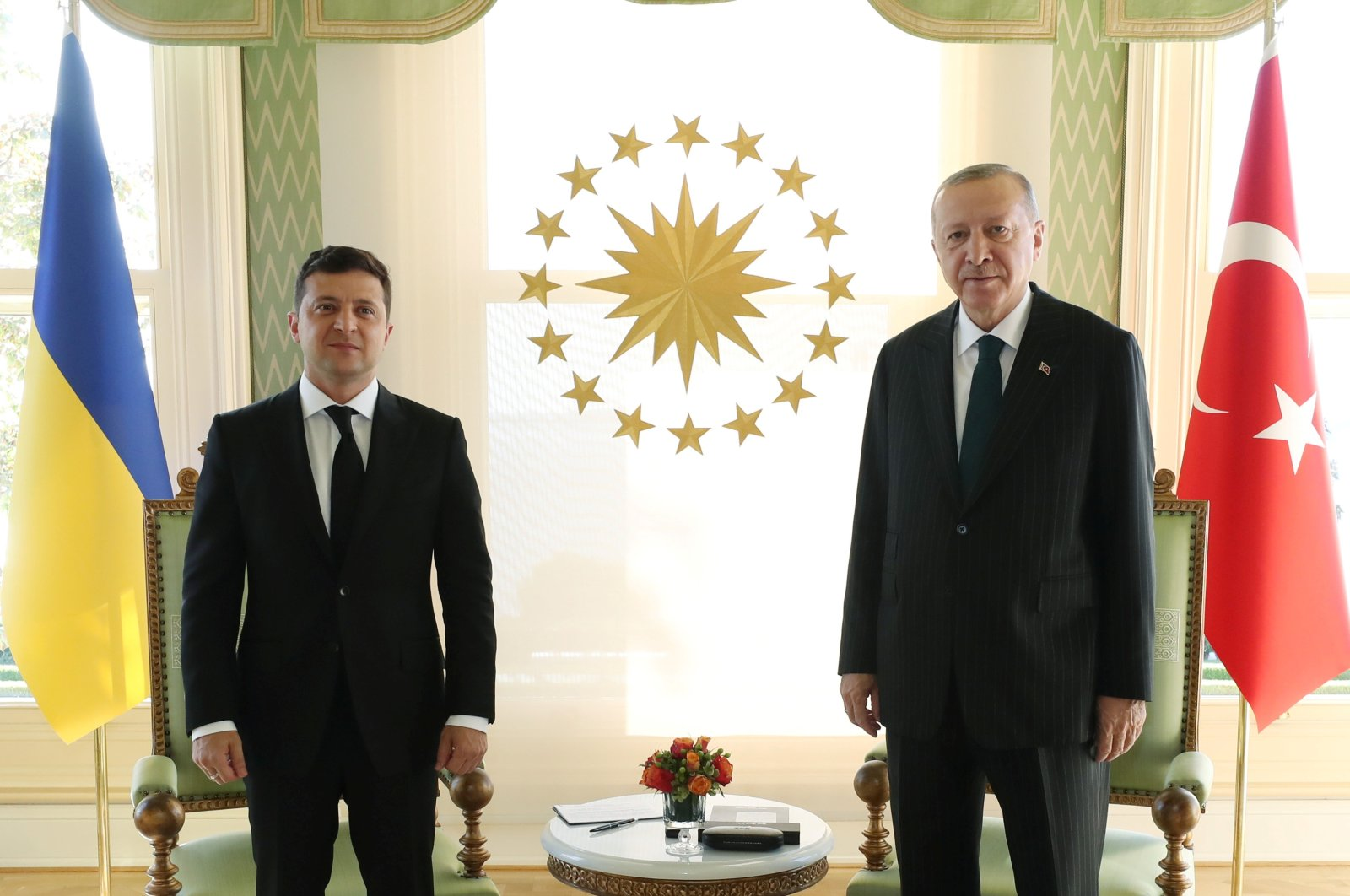 President Recep Tayyip Erdoğan meets with his Ukrainian counterpart Volodymyr Zelenskyy in Istanbul, Turkey, Oct. 16, 2020. (Reuters Photo)