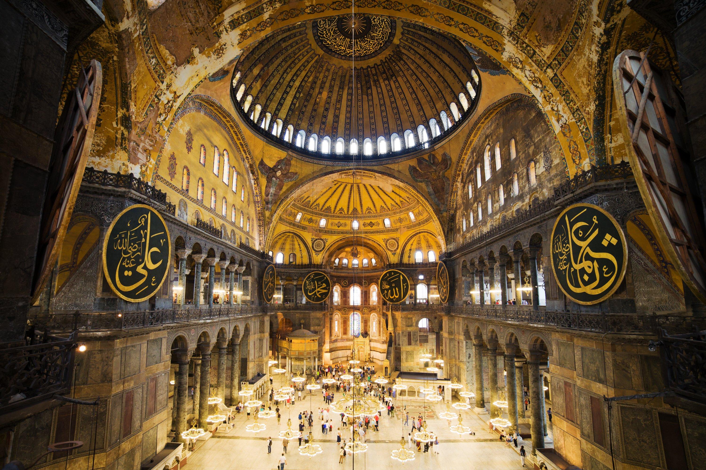 The interior of Hagia Sophia Grand Mosque. (Shutterstock Photo)
