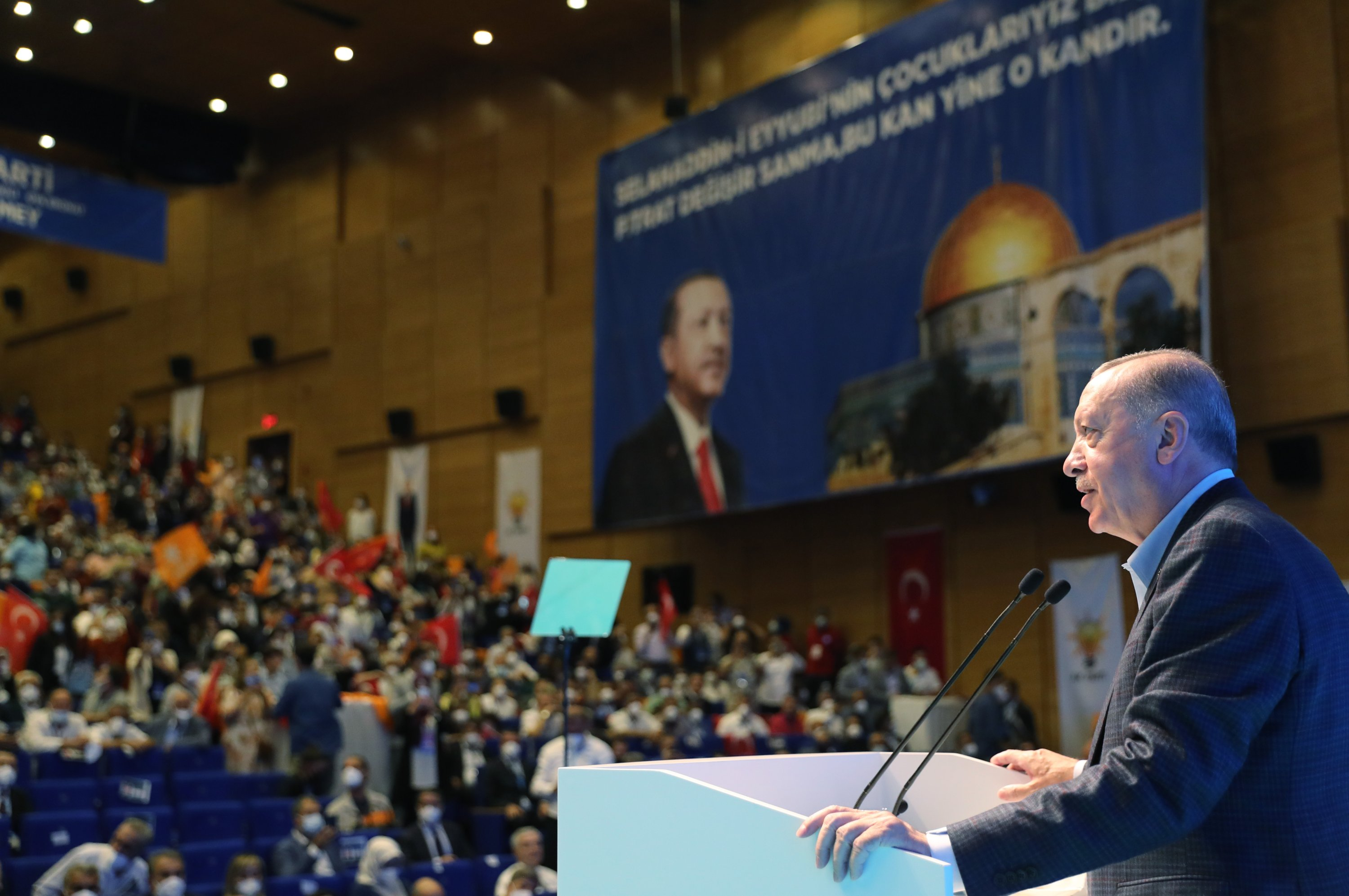 President Recep Tayyip Erdoğan addresses the ruling Justice and Development Party's (AK Party) extended consultation council meeting in the southeastern Diyarbakır province, Turkey, July 9, 2021. (AA Photo)