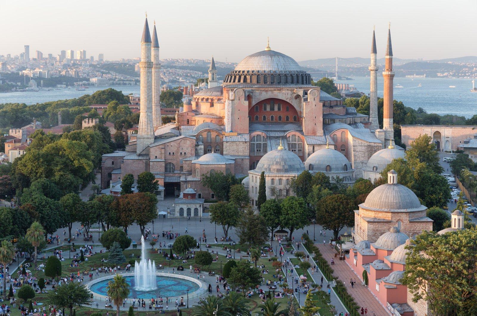 An aeriel shot of Hagia Sophia Grand Mosque in Turkey's Istanbul. (Shutterstock Photo)