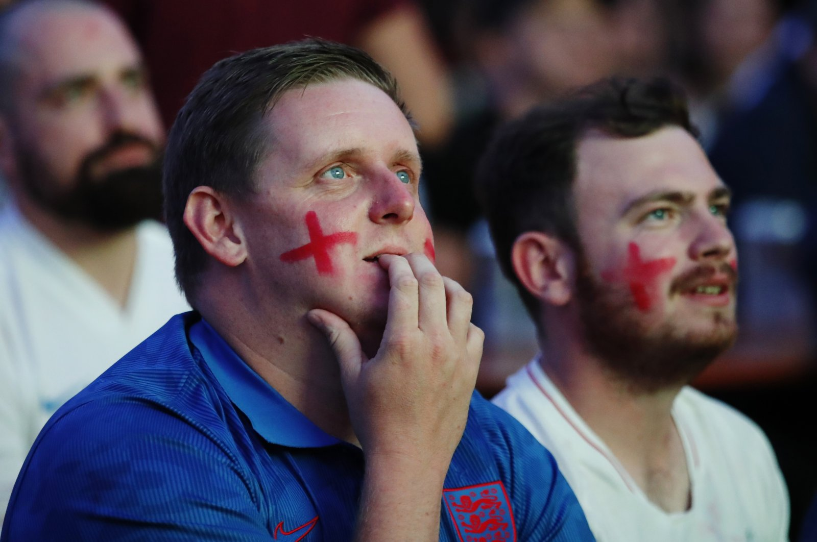 England fans react during the Euro 2020 semifinal match against Denmark, Vinegar Yard, London, England, July 7, 2021 (Reuters Photo)