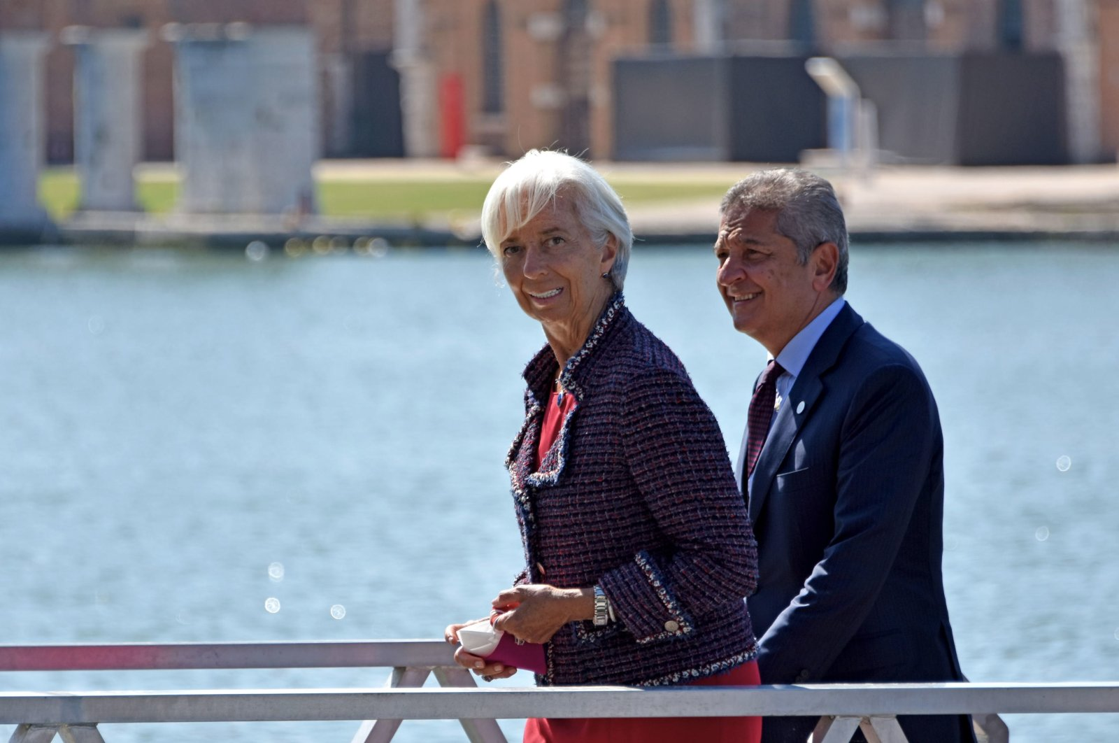 European Central Bank (ECB) President Christine Lagarde (L) arrives at the Arsenal for the G-20 Finance Ministers and Central Bank Governors Meeting in Venice, Italy, July 9, 2021. (EPA Photo)