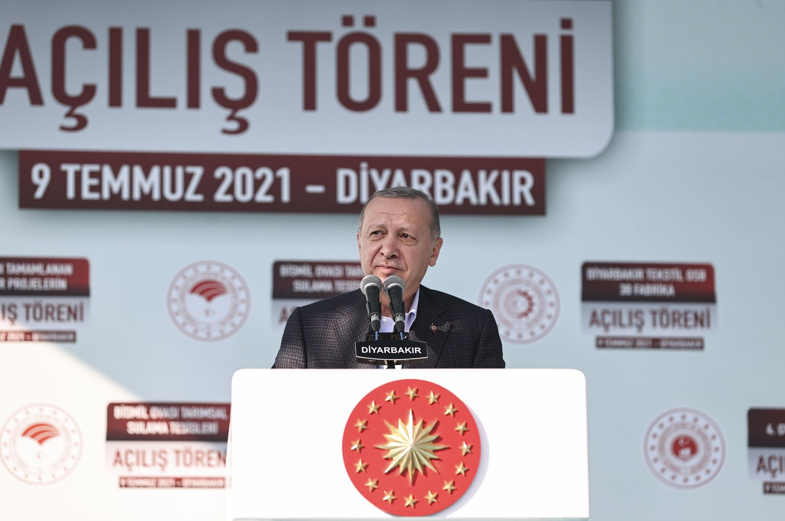 Turkish President Recep Tayyip Erdoğan speaks at the inauguration ceremony of an irrigation system and 30 factories in Diyarbakır, Turkey, July 9, 2021 (AA Photo)