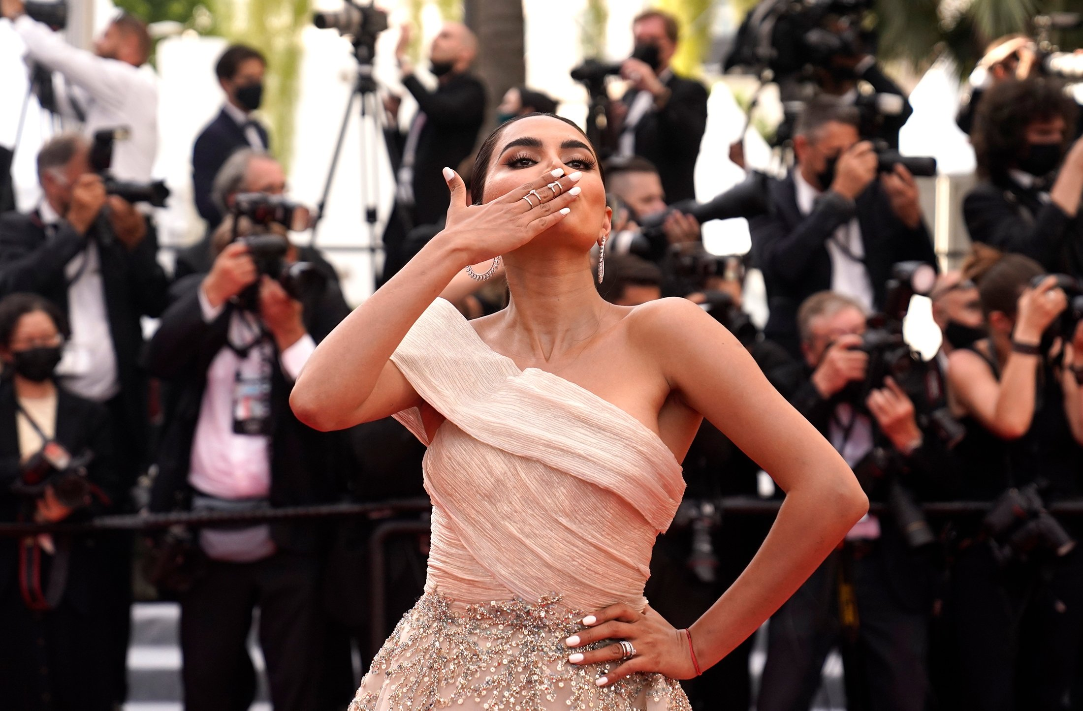 Diipa Khosla poses for photographers upon arrival at the premiere of the film 'Everything Went Fine' at the 74th international film festival, Cannes, southern France, July 7, 2021. (AP Photo)