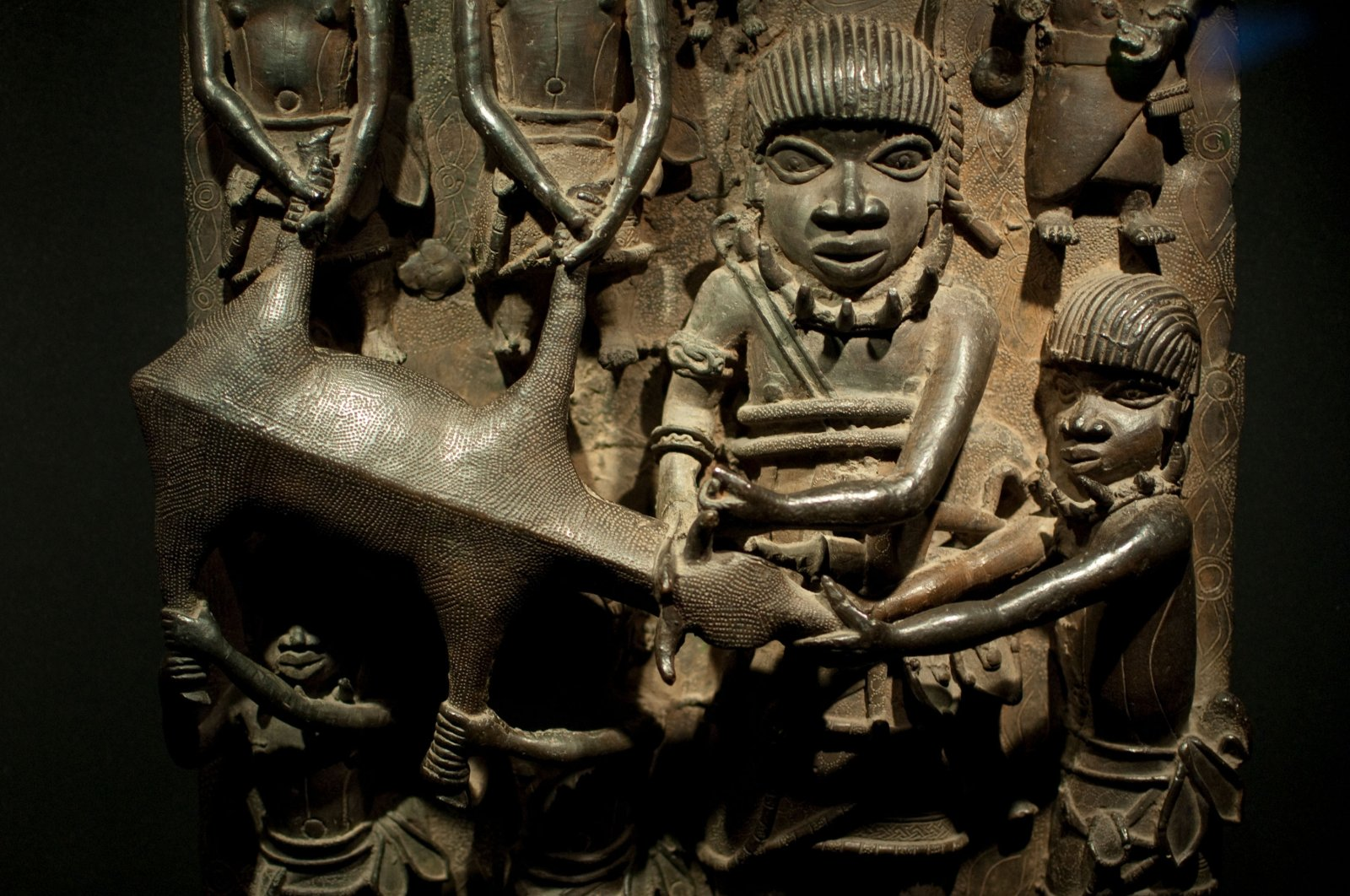 Brass plaques that show the oba (king) with other people of Benin, aprox. 1600-1500 B.C., Madrid, Spain, Jan. 16, 2010. (Shutterstock Photo)